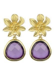 Purple Flower Shape Drop Earrings