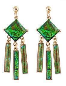 Green Gemstone Long Drop Earrings