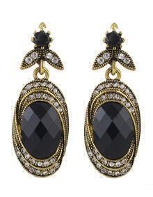 Black Gemstone Stone Earrings