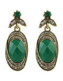 Green Gemstone Stone Earrings
