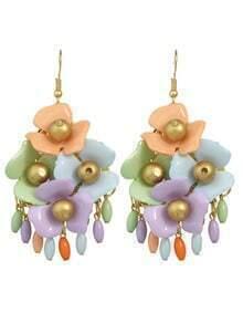 Colorful Beads Big Flower Earrings