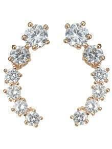 Rosegold Rhinestone Long Stud Earrings