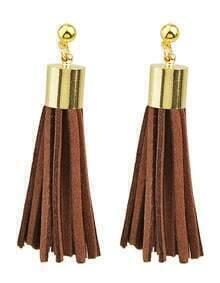 Coffee Pu Leather Tassel Earrings