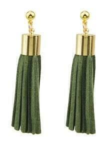 Green Pu Leather Tassel Earrings