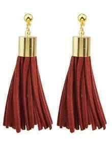 Red Pu Leather Tassel Earrings