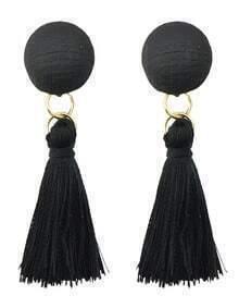 Black Line Made Tassel Earrings