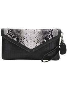 Black Snakeskin PU Clutch Bag