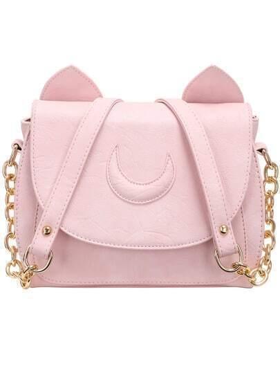 Pink Magnetic Buckle Cute PU Satchel Bag
