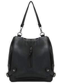 Black Zipper PU Backpacks