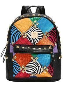 Multicolor Rivet Zipper PU Backpacks