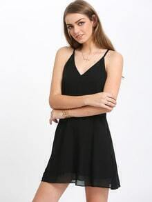 Black Criss Cross Back Backless Chiffon Dress