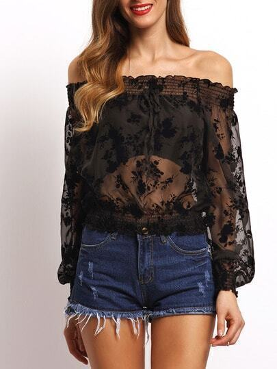 Black Off the Shoulder Sheer Mesh Blouse