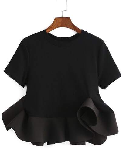 Crew Neck Ruffle Crop Blouse