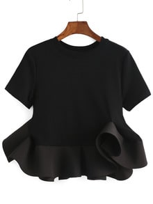 Black Crew Neck Ruffle Crop Blouse
