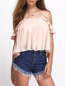 Pink Cold Shoulder Ruched Chiffon Blouse