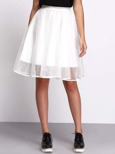 Белая модная прозрачная юбка клеш