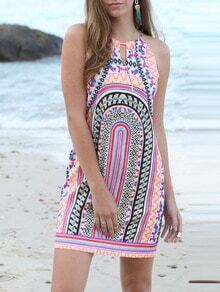 Multicolor Print Keyhole Back Spaghetti Strap Dress