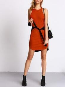 Orange Sleeveless Dolphin Hem Ribbed Dress