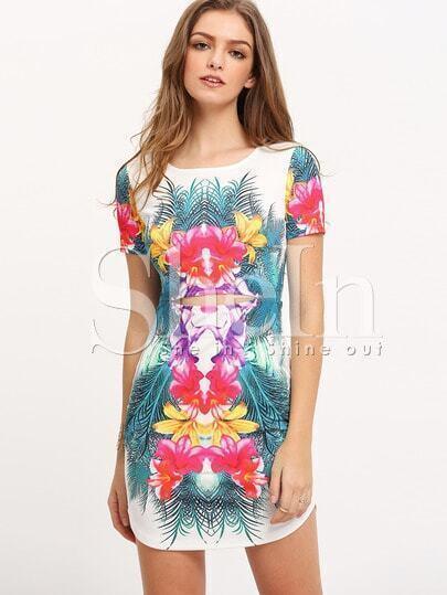Multicolor Print Cut Out Short Sleeve Dress