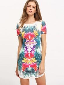 Multicolor Print Cut Out Short Sleeve Dress