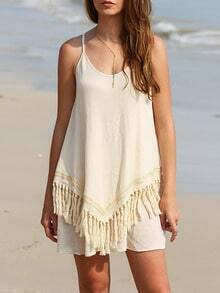 Apricot Fringe Spaghetti Strap Beach Dress