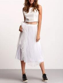 White Zipper Back Crop Top With Mesh Skirt
