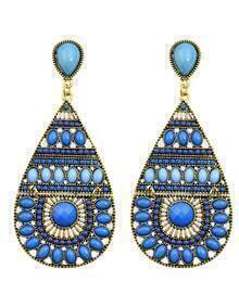 Blue Long Drop Bead Earring