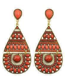 Red Long Drop Bead Earring