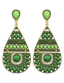 Green Long Drop Bead Earring