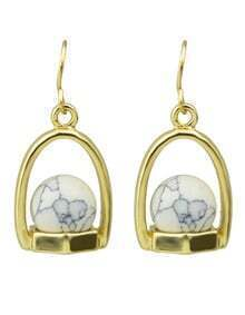 White Small Ball Drop Earrings