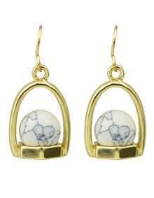 White Small Ball Drop Earrings