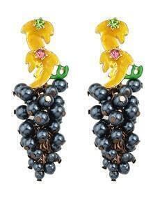 Darkblue Grape Hanging Earrings