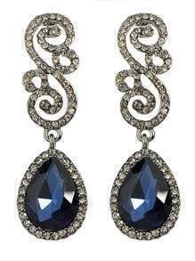 Blue Rhinestone Women Earrings