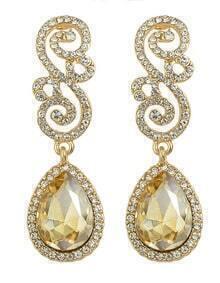 Champagne Rhinestone Women Earrings
