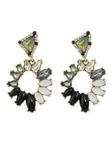 Black Rhinestone Hanging Stud Earrings