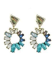 Blue Rhinestone Hanging Stud Earrings