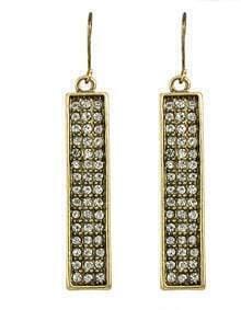 Simple Rhinestone Long Earrings