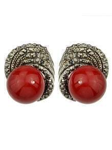 Red Small Pearl Earrings