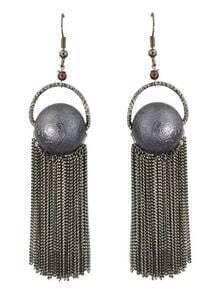 Gunblack Plated Long Tassel Earrings
