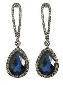 Blue Single Rhinestone Drop Earrings