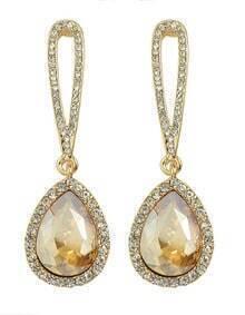 Champagne Single Rhinestone Drop Earrings
