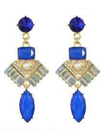 Blue Rhinestone Long Drop Earrings