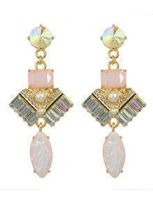 Pink Rhinestone Long Drop Earrings