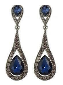 Blue Elegant Long Drop Earrings