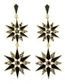 Black Enamel Long Drop Earrings