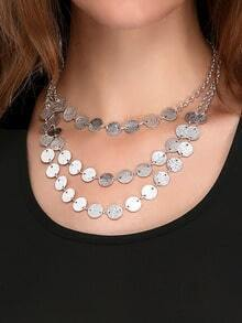 Silver Three Layers Round Necklace