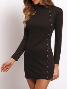 Black High Neck Buttons Bodycon Dress