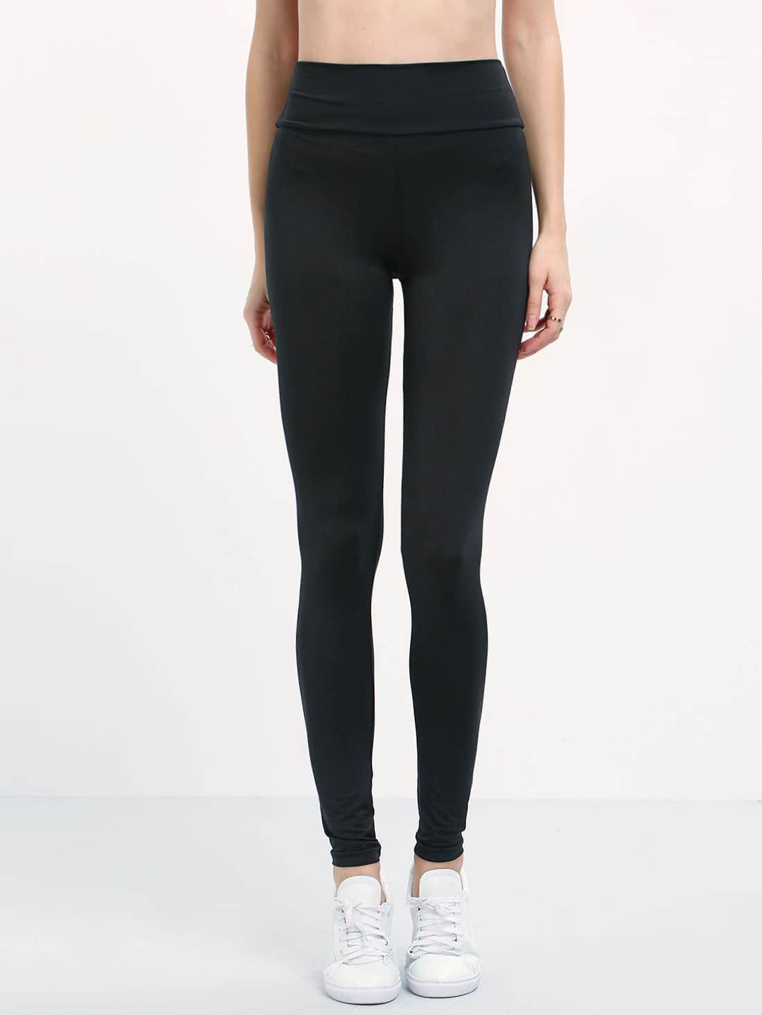 Elastic Waist Slim Leggings -SheIn(Sheinside)