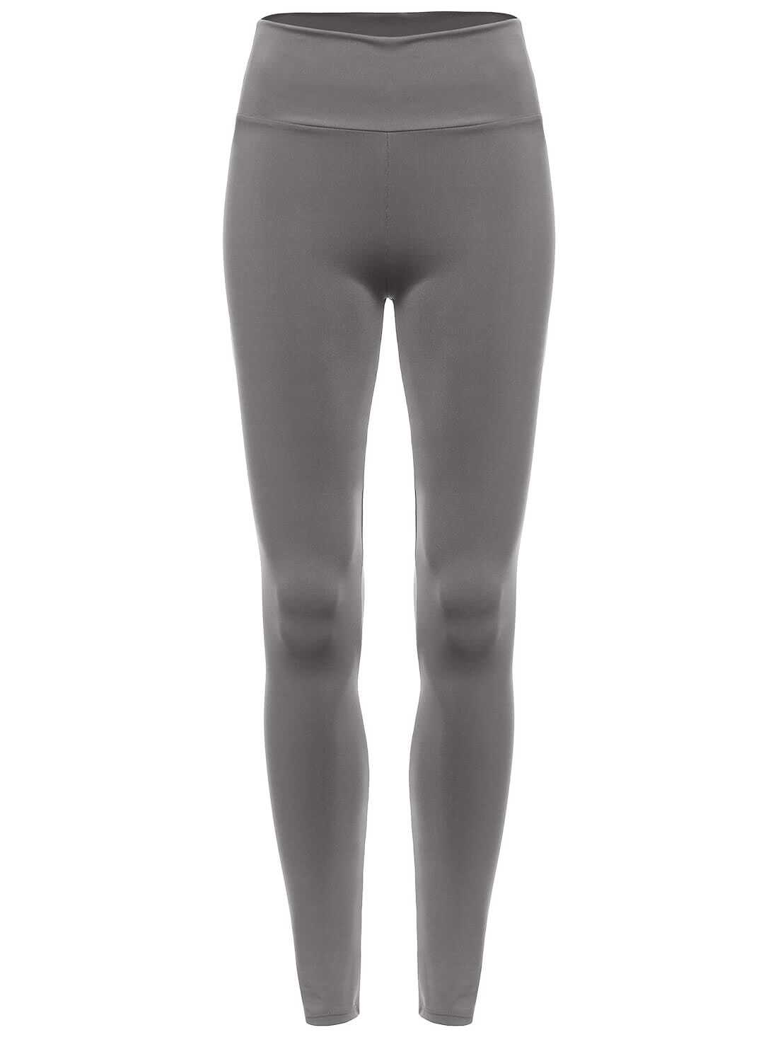 Grey Elastic Waist Slim LeggingsGrey Elastic Waist Slim Leggings<br><br>color: Grey<br>size: one-size