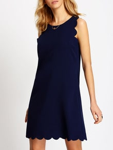 Royal Blue Sleeveless Scallop Shift Dress